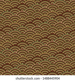 Traditional Japanese Wave Oriental Seamless Pattern