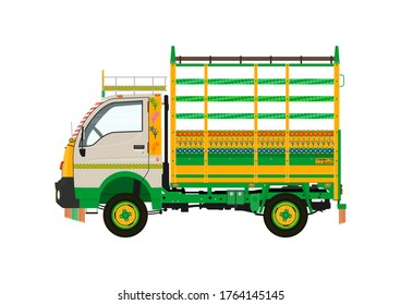 Traditional jingle truck. Side view of small truck. Flat vector.