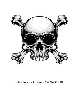 Traditional Jolly Roger design. Vector illustration of human skull with crossbones in engraving technique isolated on white background.