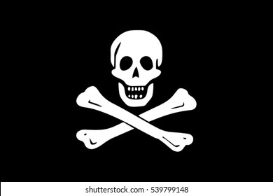 The traditional Jolly Roger of piracy Flag. Vector Format