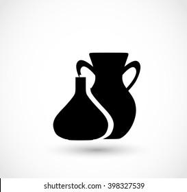 Traditional jug vase icon vector