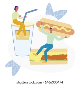 Traditional Junk Food Flat Vector Illustration. Tiny People Sitting on Soda and Sandwich Cartoon Characters. Young Man Holding Delicious Hot Dog. Unhealthy Nutrition, High Calorie Lunch