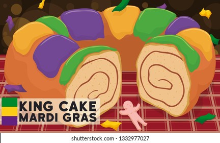 Traditional king's cake served in a tablecloth, baby Jesus toy and sign with flag, under a confetti shower to enjoy this delicious dessert during Mardi Gras carnival.
