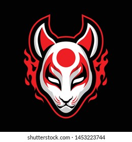 traditional Kitsune Mask from Japan Culture isolated on black background