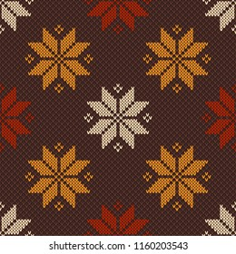 Traditional Knitted Sweater Design with Flowers. Vector Knit Seamless Texture Imitation