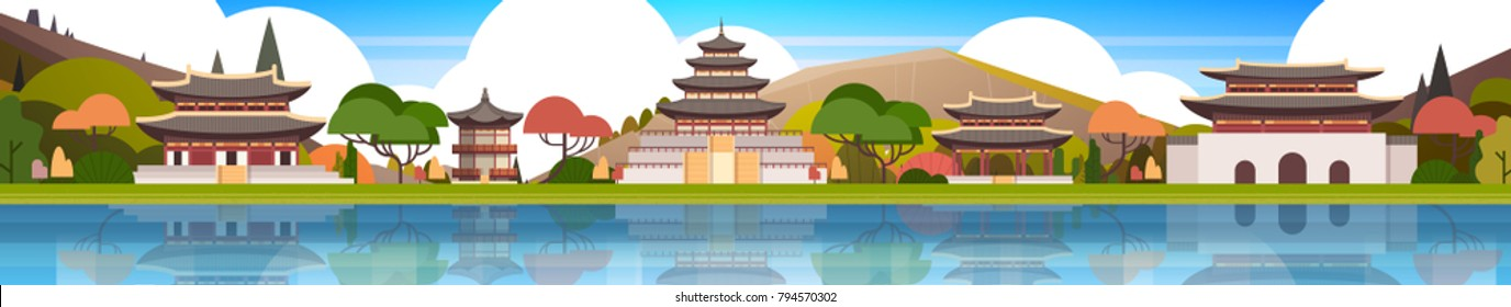 Traditional Korea Palace Landscape South Korean Temples Over Mountains Background Famous Asian Landmark View Horizontal Banner Flat Vector Illustration