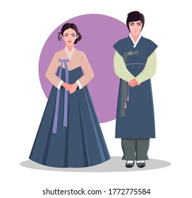Traditional Korean clothing. A couple in traditional Korean costumes. Hanbok. Asia. Vector illustration.
