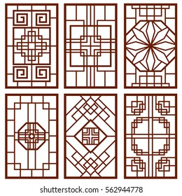 Traditional korean door and window ornament, chinese wall design, japan frames vector set. Traditional chinese decoration illustration