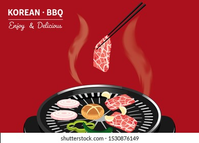 Traditional Korean food, korean barbecue, grilling beef, BBQ
