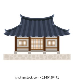Traditional Korean house (Hanok) on white background