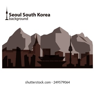 Traditional Korean landmarks silhouette on abstract background. Silhouette mountains, Korean famous buildings. Namsan tower, 63 building.
