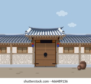 Traditional Korean style house.Suitable for national holiday background.
