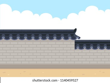 Traditional Korean style stone wall fence with sky background