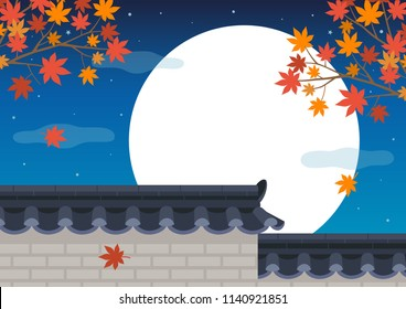 Traditional Korean style stone wall fence with maple tree on full moon night background.Mid Autumn Festival(chuseok)