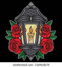 traditional lantern tattoo, vector EPS 10