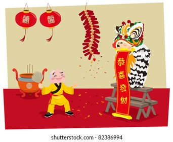 Traditional Lion Dance performance for celebration of the Chinese New Year coming