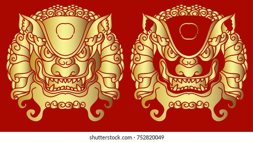 Traditional lion face tattoo.Gold lion statue on red background.Chinese lion roaring.