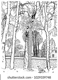 Traditional Lithuanian cross among trees. Countryside houses, rook bird. National symbol of Lithuania. Birstonas town. Hand drawn line art style black and white vector illustration for coloring.