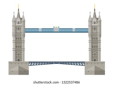 Traditional London Bridge Tower Bridge. Cultural value and sight of the state of Great Britain. Swing bridge over the River Thames in London. Vector illustration.