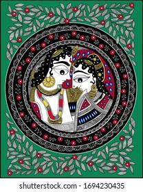 Traditional Madhubani painting Radha Krishna