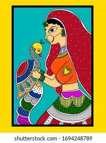 Traditional Madhubani painting of woman