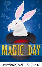 Traditional magic trick: the rabbit coming out from the top hat, a classic show to celebrate Magic Day.
