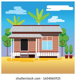 A traditional Malay House or 'Rumah Kampung' in Malaysia. Vector Illustration