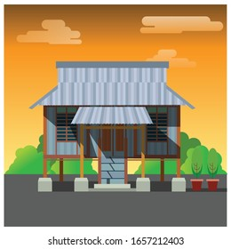 A traditional Malay House or 'Rumah Kampung' in Malaysia. Sunset view. Vector Illustration