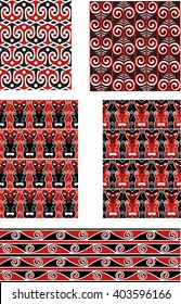 Traditional Maori Seamless Vector Patterns Set