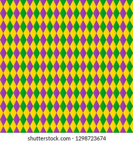 Traditional Mardi Gras background. Colorful harlequin seamless pattern. Green, purple and yellow geometric vector background for Fat or Shrove Tuesday posters, banners, cards, party invitations.