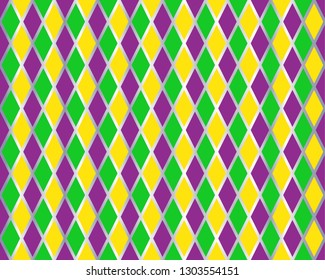 Traditional Mardi Gras seamless pattern with gold, green, yellow and violet colors. Harlequin vector pattern. Carnival Mardi Grass traditional seamless background. Argyle ornament.