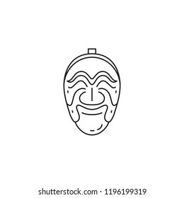 Traditional mask vector icon on white background black line stroke South Korea travel tourism destination