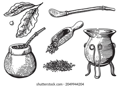 Traditional mate tea set. Vector ink hand drawn sketch style illustration for cafe or restaurant menu, print. Yerba mate ceremony with gourd and bombilla