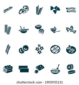 Traditional meal icons set with ravioli pasta, tortiglioni pasta, stelle pasta and other shape elements. Isolated vector illustration traditional meal icons.