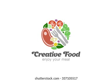 Traditional Meat and Vegetables on Plate Logo design vector template. Circle shape of Food Logotype concept icon.