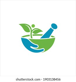 traditional medicine mortar logo design