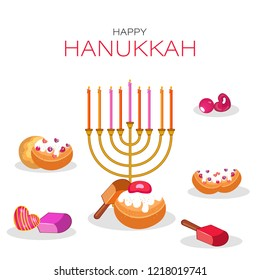Traditional menorah (Candelabrum) with festival food elements on white background. Happy Hanukkah festival greeting card design.