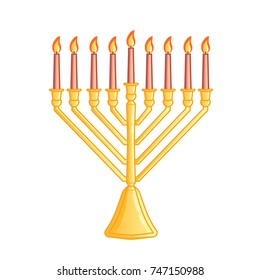 A traditional menorah for the Jewish Hanukkah festival. Color icon isolated on white background. Vector illustration. Usable for design, invitation, banner, background, poster.