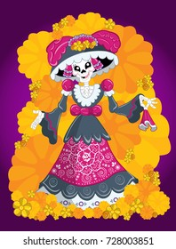 Traditional Mexican Catrina, death's day