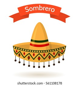 Traditional mexican colorful hat sombrero isolated on white background. Red ribbon with text. Vector flat style cartoon illustration. Symbol of Mexico, national costume.