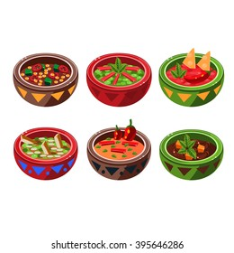 Traditional Mexican Cuisine Soup Collection Vector Drawing In Cute Cartoon Style Isolated On White Background