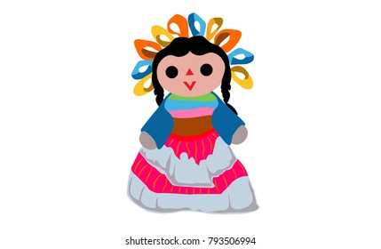 Traditional Mexican Doll, Vector Illustration