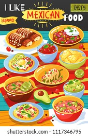 Traditional mexican food colorful restaurant cafe advertisement poster with hot chili saus chicken rolls sausages avocado vector illustration