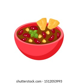 Traditional Mexican food  with meat and beans chili con carne in a red bowl with nachos chips inside vector illustration isolated on white background. Cartoon flat Mexican dish.