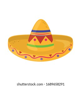 Traditional Mexican hat .  Cinco de Mayo mexican celebration vector illustration, flat style icon.