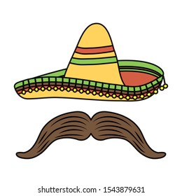 traditional mexican hat with mustache vector illustration design