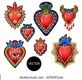 Traditional Mexican hearts with fire and flowers, embroidered sequins and beads. Vector patches illustration.