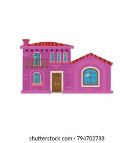 Traditional Mexican house, Mexico city facade cartoon vector Illustration
