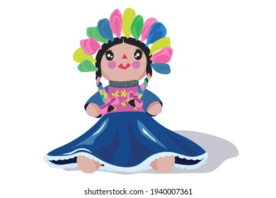 Traditional Mexican rag doll with phosphorescent colored ribbons