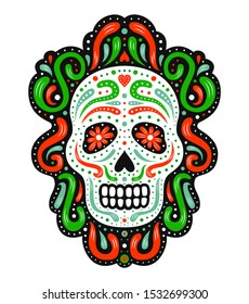 Traditional mexican sugar skull mask. Ornate decorative human skeleton head on the dark background. Latin american Day of the Dead celebration symbol. National flag colored EPS 10 vector illustration.